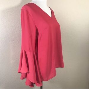 WHBM Salmon Pink Bell Sleeve Blouse Open Back